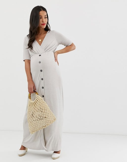 ASOS DESIGN Maternity button through wrap front maxi dress | ASOS