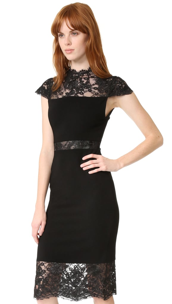 Alice + Olivia Kim Mock Neck Lace Dress ($440)