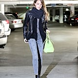 Jessica Alba wore jeans with a star print.