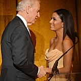 Vice President Joe Biden and actress Eva Longoria shared a special moment on stage at the Latino Inaugural celebration Sunday.
