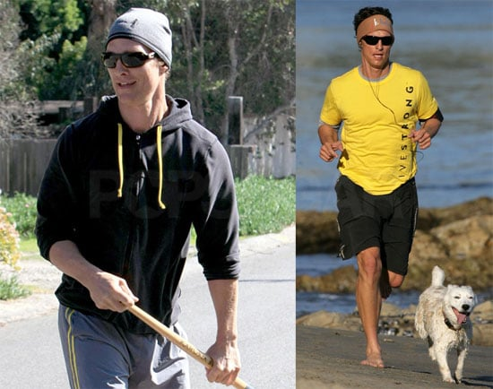Photos of Matthew McConaughey Running, Skateboarding, and Stretching With His Dog