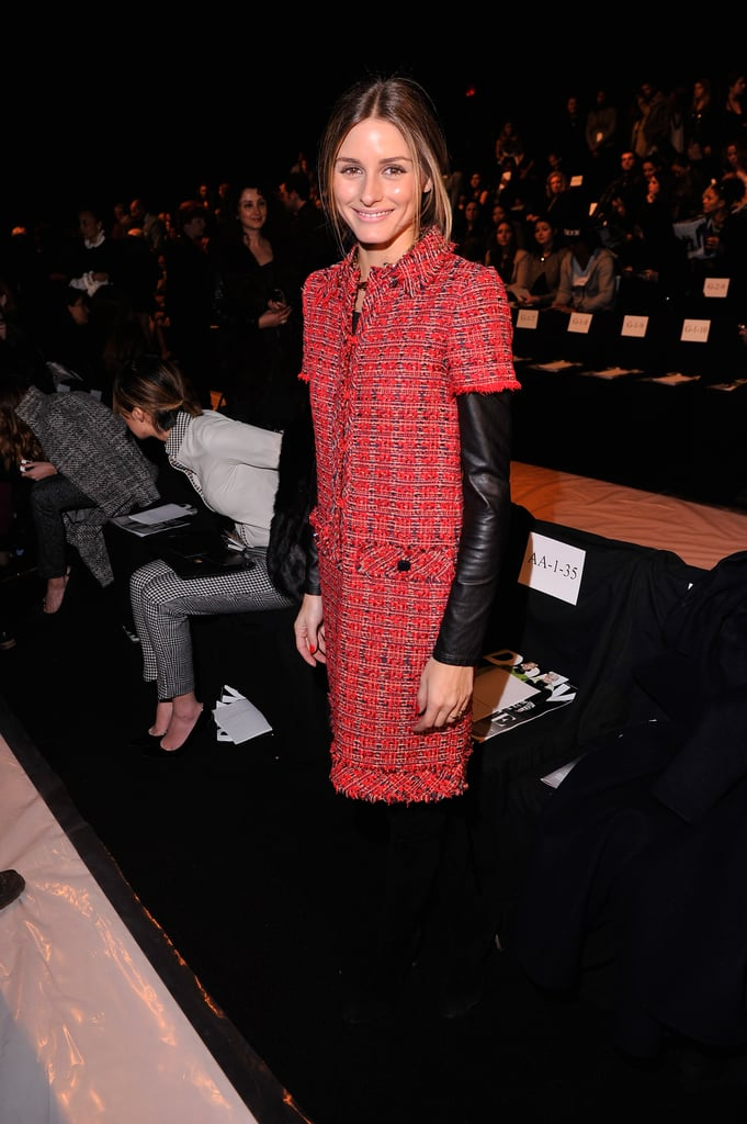 A red tweed Carolina Herrera dress and Brian Atwood boots made for a perfectly polished look.