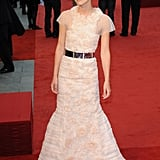 Keria Knightley's ivory Chanel frock hugged her in all the right places.