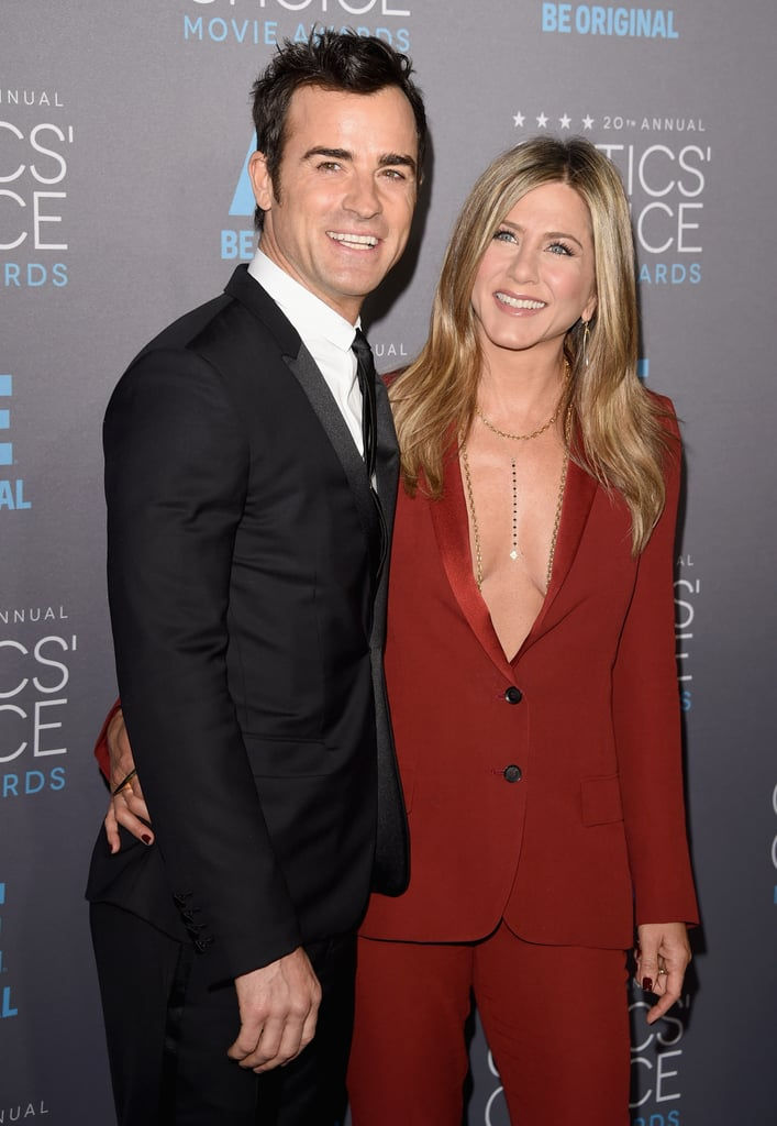 Jennifer Aniston and Justin Theroux blazed their way through the red carpet at Thursday night's Critics' Choice Awards in LA, which means they're doubling up on dates this week after their smiley Golden Globes appearance. Jennifer opted for a rust-colored Gucci tuxedo with a seriously plunging neckline for the event, while Justin kept things classic in a black suit. Jennifer, of course, is at the Critics' Choice Awards for her vulnerable performance in Cake, which actually was snubbed by this year's Oscars after earning Golden Globe, SAG, and Critics' Choice nominations. Keep scrolling to see the pics from her night.