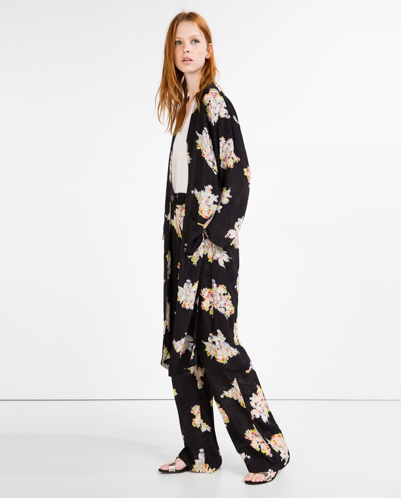 Zara-Jacquard-Print-Kimono-40 Road Trip Essentials–20 Best Outfits For Traveling in Summers