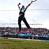 Great Britain's Etienne Stott jumped for joy after winning gold in the men's canoe double slalom final.