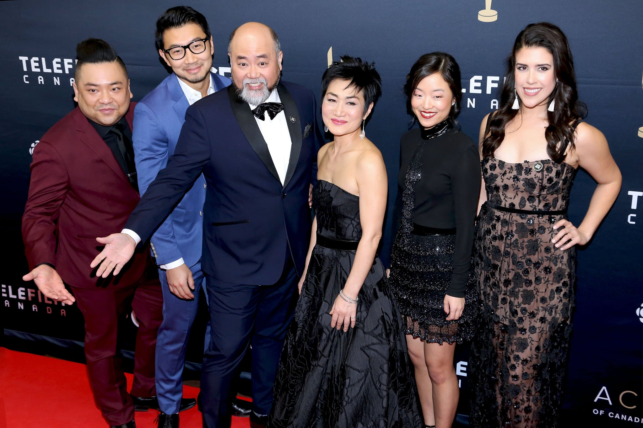 TORONTO, ON - MARCH 11:  (L-R) Simu Liu, Andrew Phung, Paul Sun-Hyung Lee, Jean Yoon, Andrea Bang and Nicole Power arrive at the 2018 Canadian Screen Awards at the Sony Centre for the Performing Arts on March 11, 2018 in Toronto, Canada.  (Photo by Isaiah Trickey/FilmMagic)