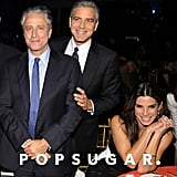 Jon Stewart chatted with George Clooney and Sandra Bullock.