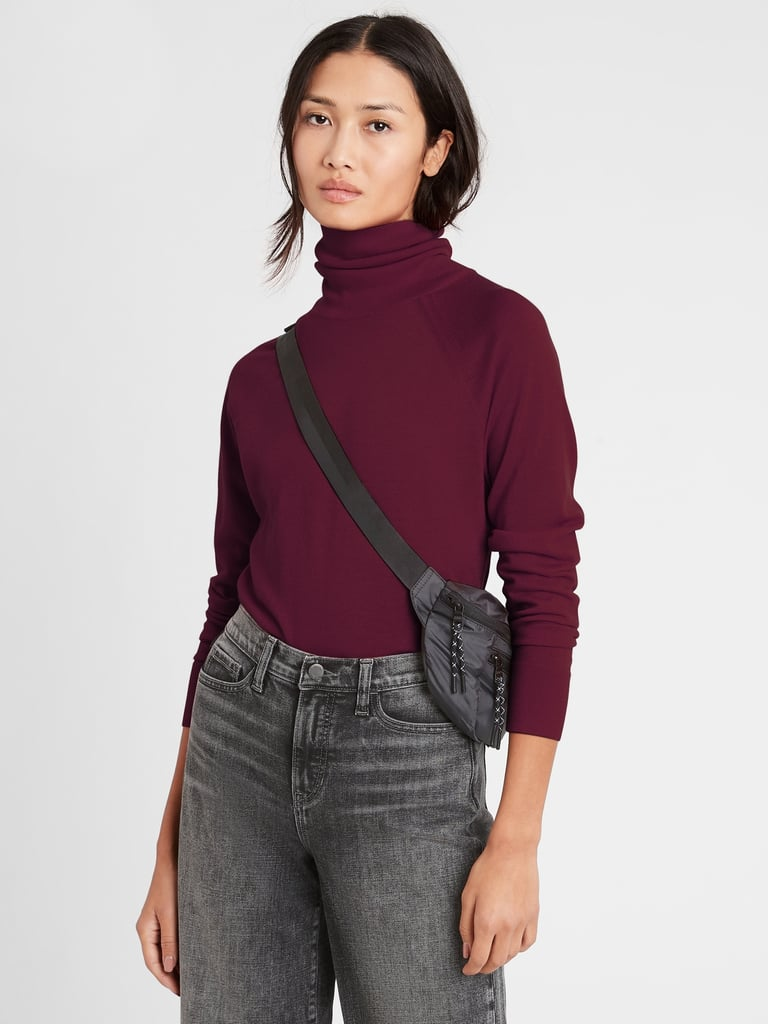 Banana Republic Merino Turtleneck Sweater in Responsible Wool in Red Wine