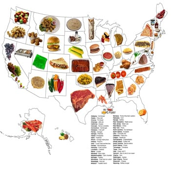 Food Map of the United States, State by State