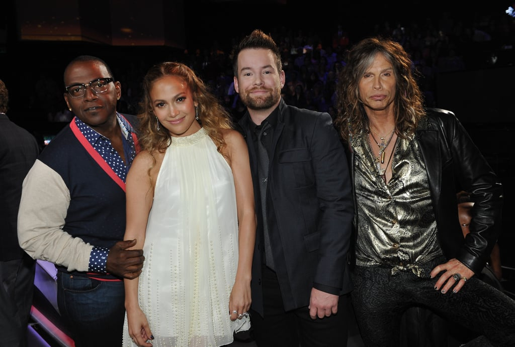 The judges posed with former winner David Cook.
