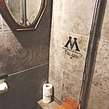 There is a very helpful sign for entrance to the Ministry of Magic beside the toilet. As you can see, the only downside to the bathroom is the poorly placed mirror that requires standing on the toilet to use. (It's also the only usable mirror in the room.)