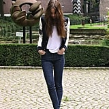 We like how this stylista paired her skinny jeans with an on-trend bomber jacket.  Photo courtesy of Lookbook.nu