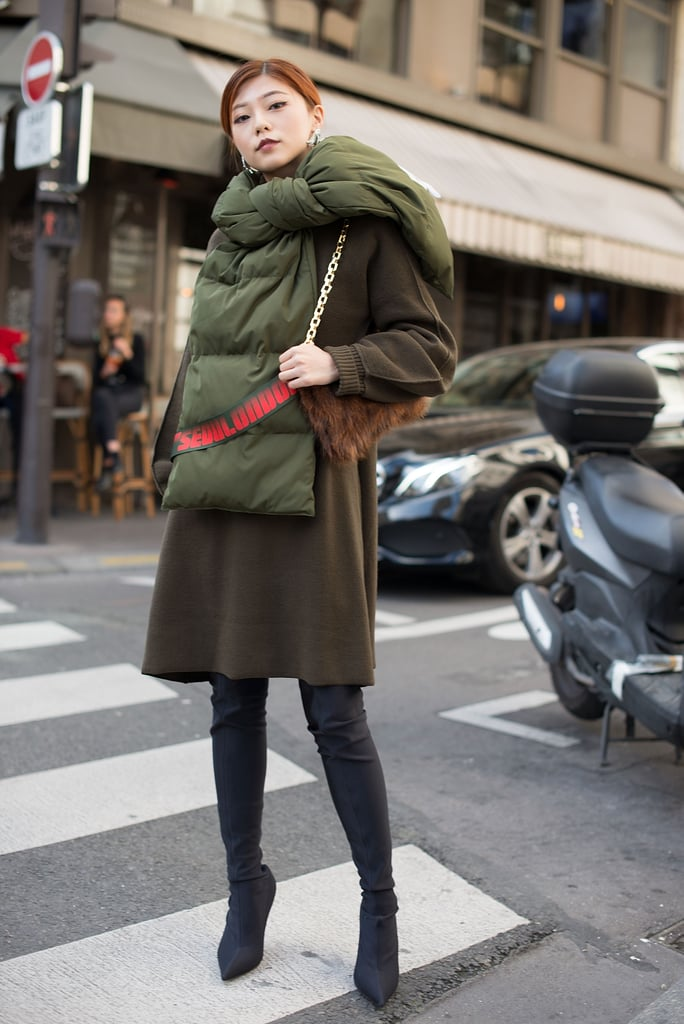 Style a Puffy Scarf With Thigh-High Boots