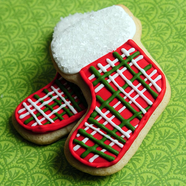 Plaid Christmas Stocking Sugar Cookies Cute Christmas Cookies For