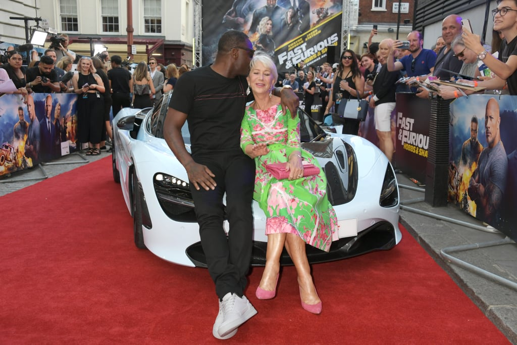 The cast of Hobbs and Shaw hit the red carpet in London on Tuesday night, and one star completely stole the show. Nope, not Dwayne Johnson ⁠— he was sadly unable to make the event ⁠— but the one and only Helen Mirren (who reprises her role as Magdalene Shaw in the movie). The 73-year-old actress was spotted getting some sweet red carpet kisses from Jason Statham, and she also smiled as she posed with Vanessa Kirby (who plays her daughter in the movie). But it was Idris Elba who really seemed charmed by the legendary actress as they reclined on one of the cars from the movie and he went in for a little peck on the cheek. The foursome also posed for some fun group photos, giving us a glimpse at the powerhouse of British talent that makes up the cast of the movie. At the afterparty, Helen was back in the arms of a more familiar face, her husband of 22 years, Taylor Hackford! Keep reading to see all the photos before Hobbs and Shaw hits theaters on Aug. 2.       Related:                                                                                                           28 Celebrities Who Couldn't Resist the Flirtatious Charm of Helen Mirren