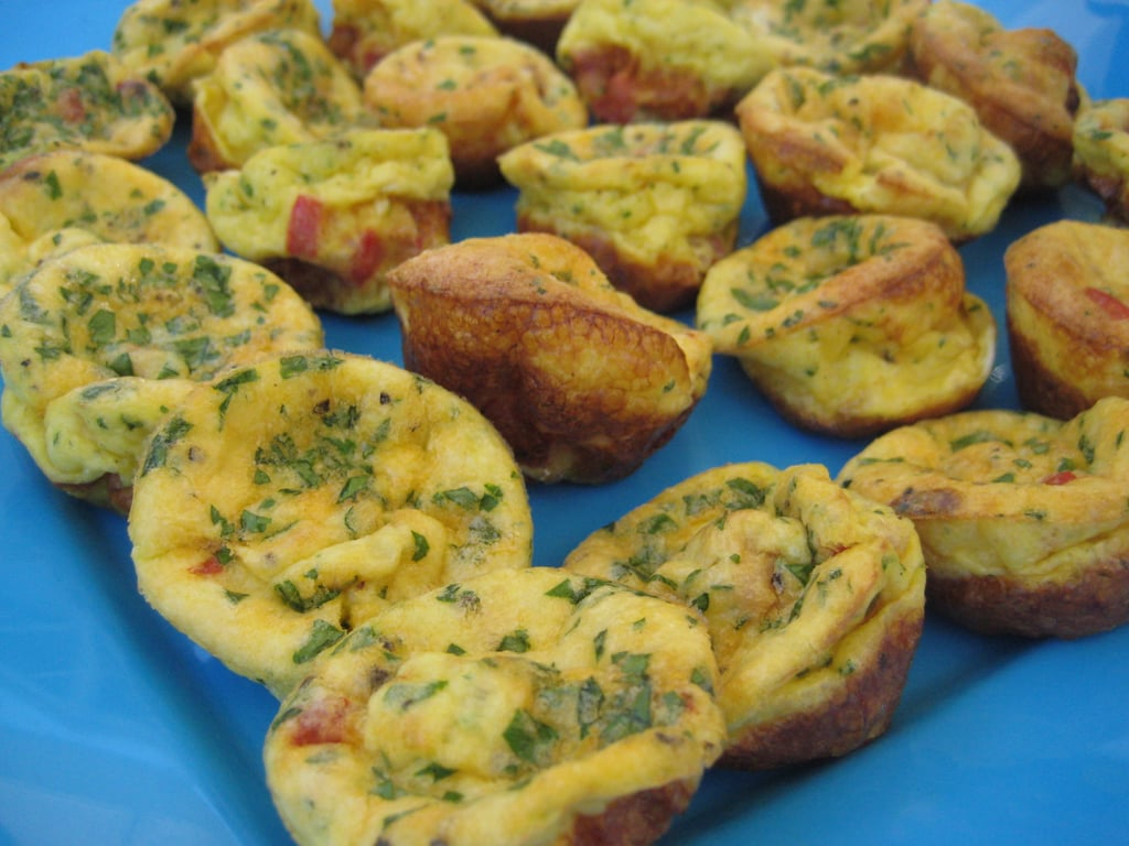 Just before guests arrive bake the mini frittatas. I made two batches: one with ham and another without.  Place the tray in the sun to ensure that the frittatas stay warm.