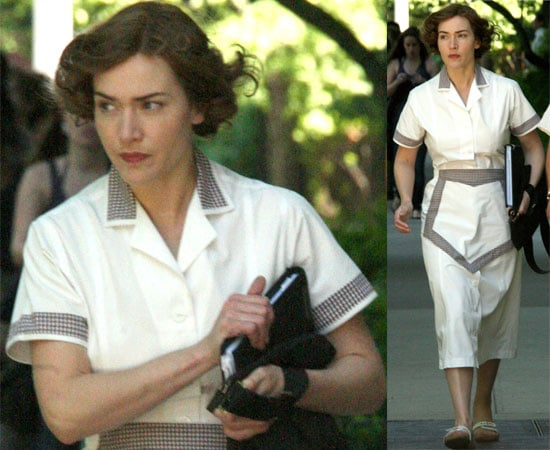 Photos of Kate Winslet in Costume on the Set of Mildred Pierce on the Upper East Side in New York City