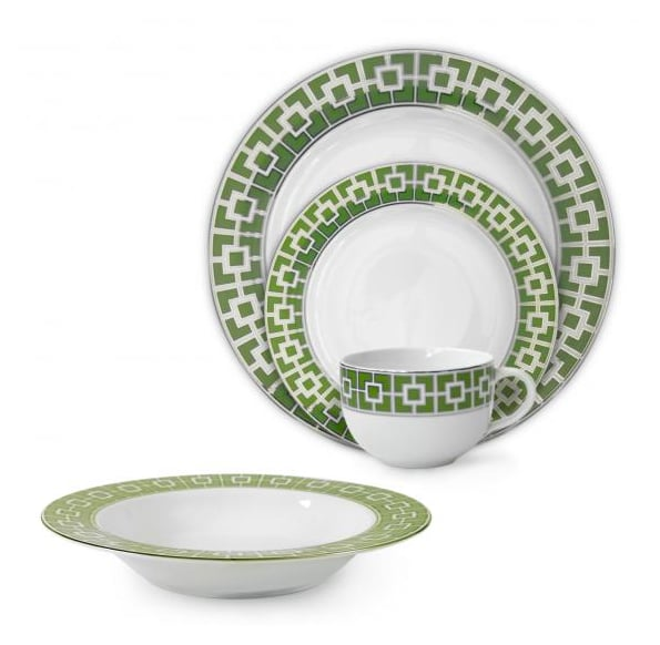 We love the bold print and color of this porcelain dining set ($50) that you can use well beyond St. Patrick's Day.