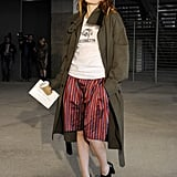 Striped shorts got a cool-girl twist with a military coat and heeled oxfords.