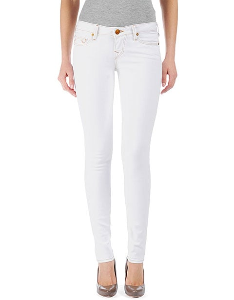 Every fashionista should have a pair of white skinny jeans in her closet, and the light brown-stitching gives it an even more rustic feel. True Religion Shannon Color Lonestar Jean in Optic White ($191)