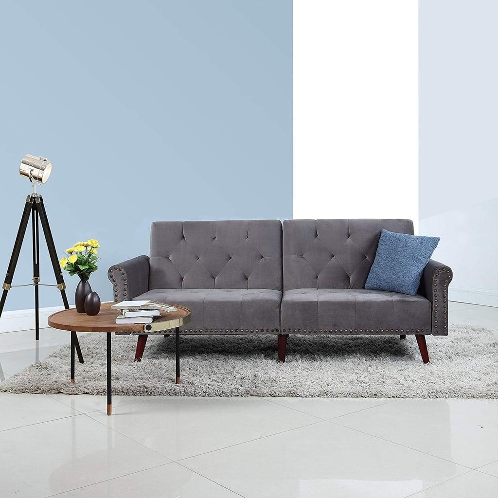 Divano roma furniture modern tufted velvet splitback futon sofa