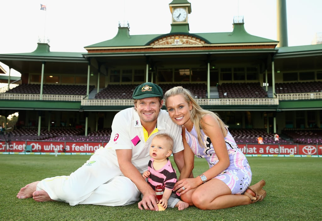 Shane Watson had the support of his son, Will, and wife, Lee.
