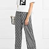 Fendi Embellished Lamé and Stretch-cotton Jersey T-shirt
