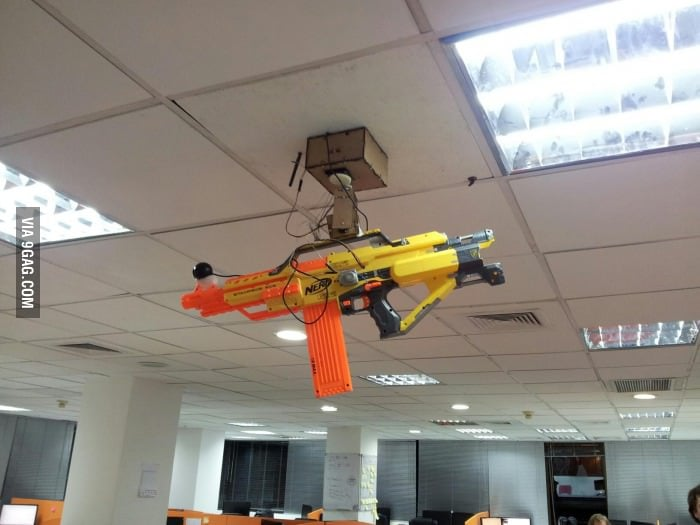 """""""Sentry Gun with webcam and remote controlled by smartphone."""" Source: Imgur user beastn"""