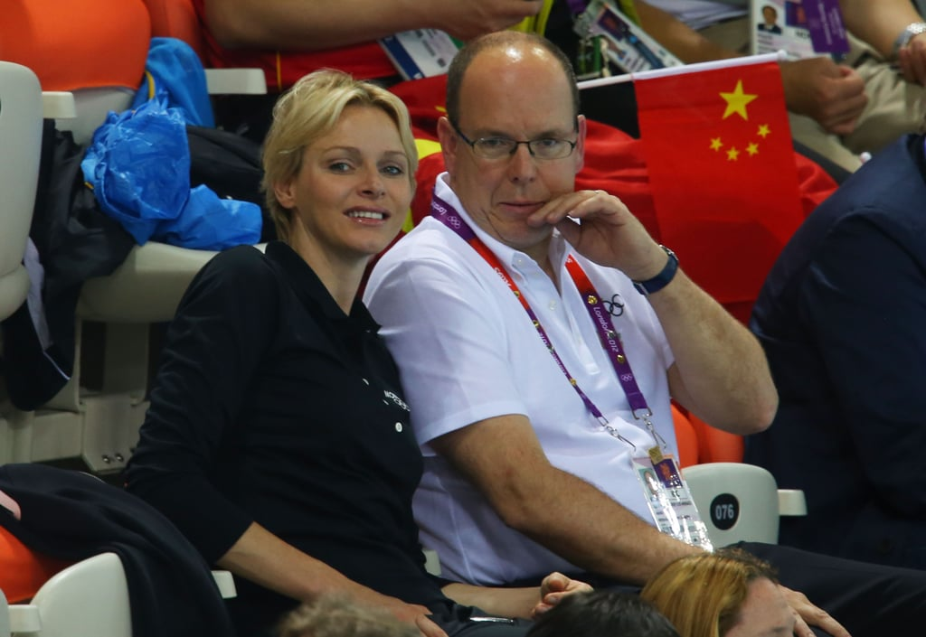 Prince Albert and Princes Charlene cheered in the stands at the Olympics.