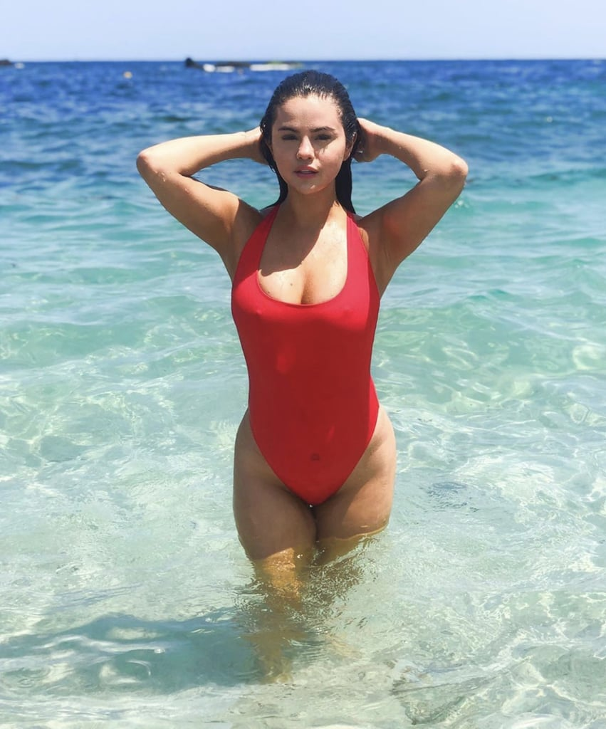 Selena Gomez in Red One-Piece Swimsuit