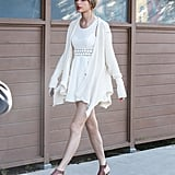 Taylor Swift wore a white dress for her Wednesday out in LA.