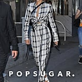 After the Fendi Show, Bella Wore a White Plaid Tie-Front Blouse and Matching High-Waisted Pants
