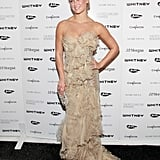 Bar Refaeli wore a nude gown to an event in NYC.
