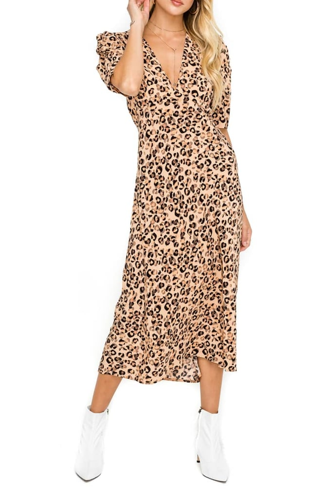 6561b09c87 ASTR the Label Back Cutout Midi Dress | Animal-Print Dresses 2019 ...