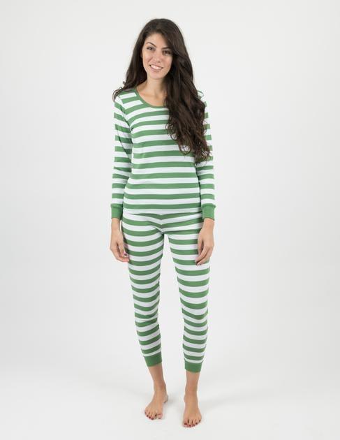 Leveret Womens Green & White Stripes Pajamas - Green White