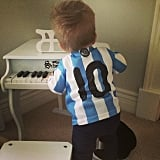 Michael Bublé and Luisana Lopilato dressed their 1-year-old son Noah in a tiny Team Argentina jersey. Source: Instagram user lulopilatophotos