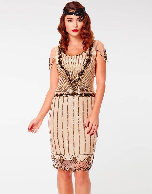 Eva Flapper Art Deco Dress In Nude Blush