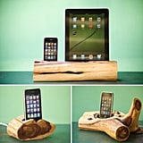 You can't have everything, as these gorgeous driftwood lookalike iPhone and iPad docking stations would be my gadget's sole home if only the included speakers. Still, charge your Apple gadgets in a taste of the outdoors with the iPhone cedar docking station ($118), iPhone dock ($78), or iPhone and iPad docking station ($188).