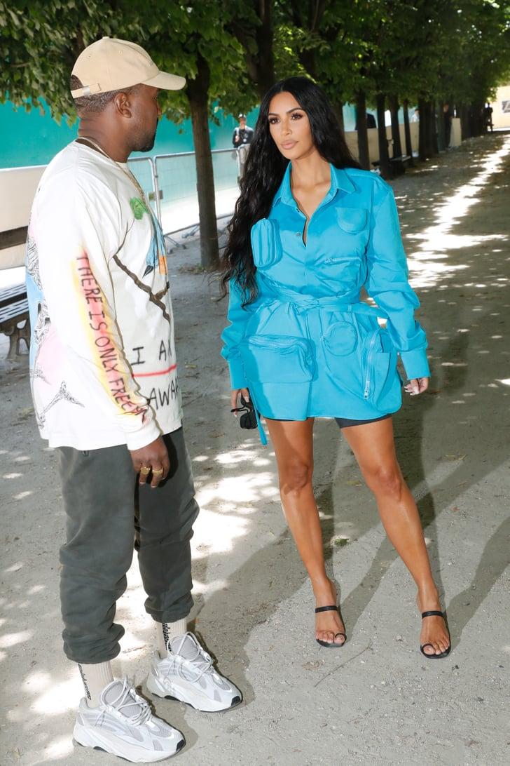 Kim Kardashian's Blue Dress at Louis Vuitton Show in Paris ...