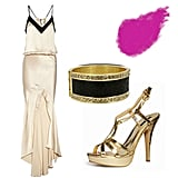 For an all-out glamorous effect, we love the idea of taking the NYE spotlight in a slinky silk gown. Simply finish the look with a bold cuff bracelet, gold sandals, and perfect pink pout. Get the look:   Mason by Michelle Mason silk washed gown ($408, originally $680)  Shiseido perfect rouge lipstick ($25)  Guess pavé bracelet ($28)  Forever 21 strappy platform sandals ($28)