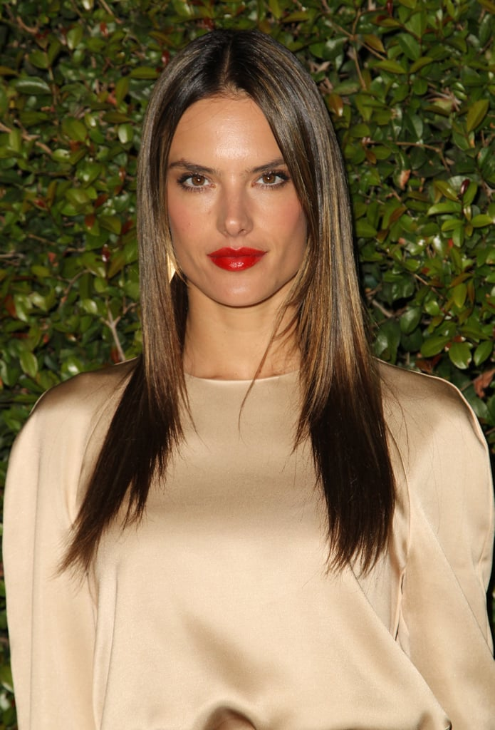 The Golden Highlights In Alessandra Ambrosios Hair Picked Up The