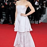 A red carpet appearance at the Cannes Film Festival in May 2014 called for the big guns, in this case a tiered, strapless Dior dress.