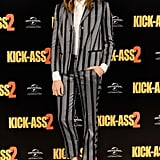 A striped Viktor & Rolf suit looked sophisticated at the Kick-Ass 2 premiere.