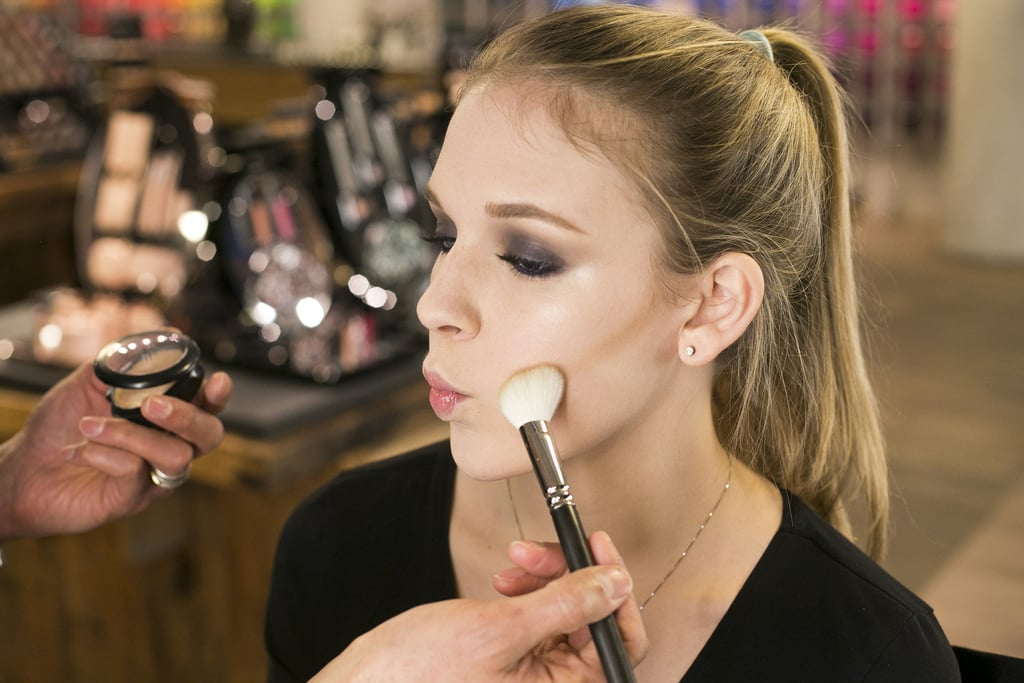 To help sculpt the face, add a hint of contour starting at the hair near the top of the ear and move down under the cheek. You want to go for a neutral tone in a shade darker than your own complexion. The end result will make your cheekbones pop, and can even have a face-slenderizing effect.