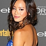 If you're not into pulling everything up, try this style from Jamie Chung. She let her front layers hang low, while she loosely tucked her hair up in the back for a subtle faux-bob effect.
