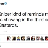 First, Seth Rogen compared American Sniper to a Nazi film in Inglourious Basterds.