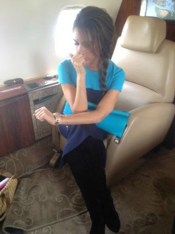 "Victoria Beckham tweeted a photo of herself on the plane ride to Vancouver, writing, ""I'm so upset about this carpet."" Source: Twitter user Victoria Beckham"