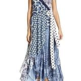 DVF Ava Mixed Pattern High/Low Silk Wrap Dress