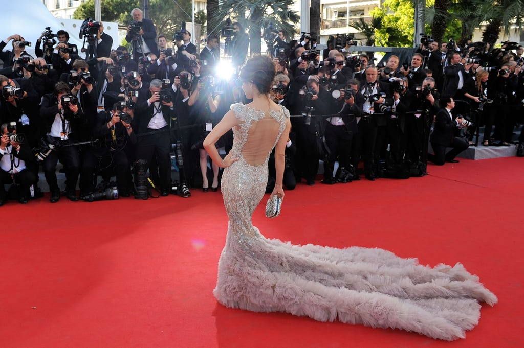 Eva Longoria wore a gown with a cutout back to the opening of the Cannes Film Festival and the premiere of Moonrise Kingdom.